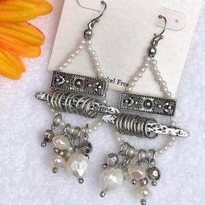 Boho Earrings Drop Pearls Silvertone Dangles
